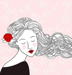 Ladywithroses vector