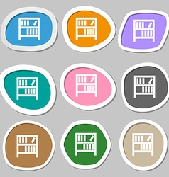 Bookshelf icon sign multicolored paper stickers vector
