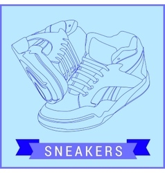 line art sneakers vector image