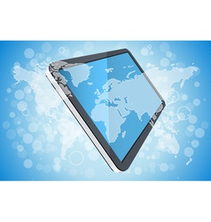 Blue background with world map and tablet computer vector