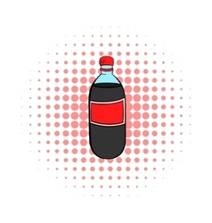 Plastic bottle with a red label icon comics style vector