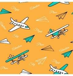 Yellow seamless pattern of cute airplanes vector