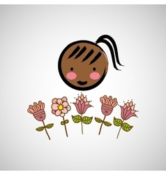 Girl woman flower vector