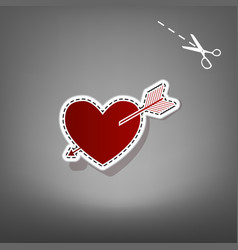 Arrow heart sign red icon with for vector