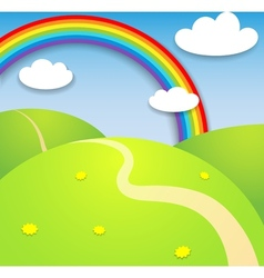 Beautiful summer landscape with rainbow vector