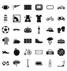 Bicycle icons set simple style vector