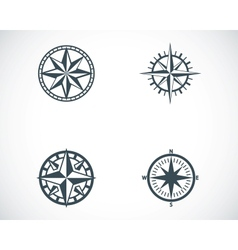 black compass icons set vector image vector image