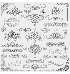 Black Vintage Hand Drawn Swirls Collection vector image