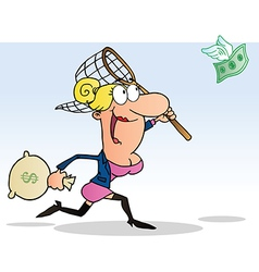 Businesswoman Chasing Flying Money With A Net vector image vector image