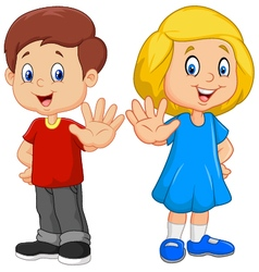 Cartoon kids are showing a stop sign isolated vector