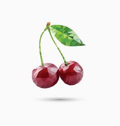 cherries in polygonal style vector image vector image