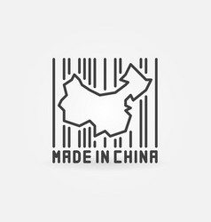 china map in barcode concept icon vector image vector image