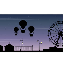 Collection stock amusement park scenery silhouette vector