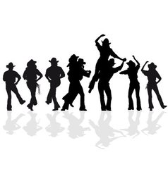 cowboy dance silhouette vector image vector image