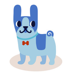 Cute cartoon blue bulldog with a bow isolated on vector