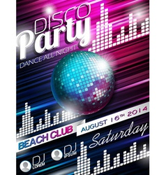 Disco Party Flyer Design with disco ball vector image
