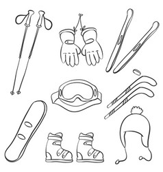 Doodle of sport equipment style vector