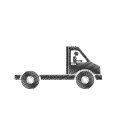 Draiwng man towing truck service figure pictogram vector