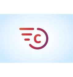Fast line letter C logo monogram vector image