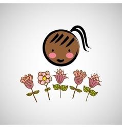 girl woman flower vector image