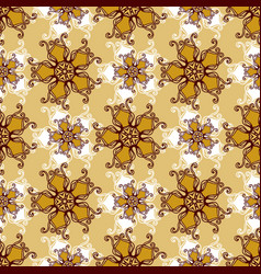 Gold lace seamless pattern with jewelry flower vector