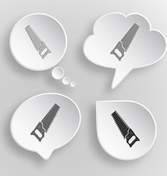 Hand saw White flat buttons on gray background vector image vector image
