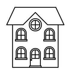 home of two floors monochrome silhouette vector image