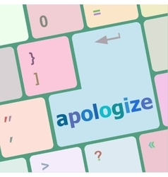 Keyboard keys with enter button apologize word on vector