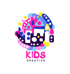 Kids creative logo design template colorful vector