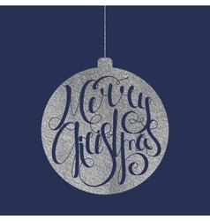 Lettering merry christmas in silver ball vector