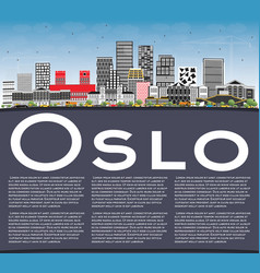 Oslo norway skyline with gray buildings blue sky vector