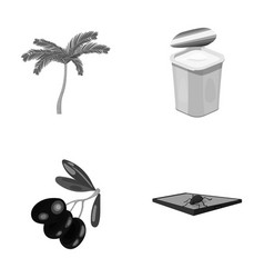 Palma garbage can and other monochrome icon in vector