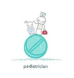 Pediatrician with a child standing on a huge vector