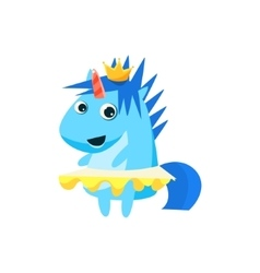 Princess unicorn with the crown vector