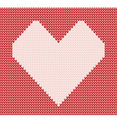 Red knitted pattern with heart vector image vector image