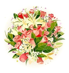 Roses and Lily Flowers Bunch vector image vector image