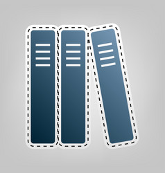 Row of binders office folders icon blue vector