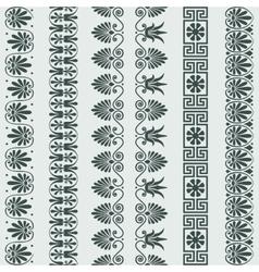 Set greek ornament meander border vector