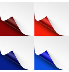 Set of curled colored corners on bright background vector