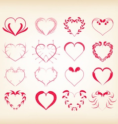 set of decorative floral hearts vector image vector image