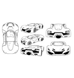 set of images of a conceptual sports car vector image