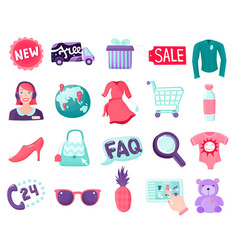Shop online items collection vector