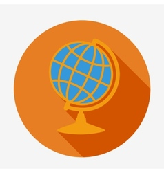 Single flat globe icon with long shadow Education vector image