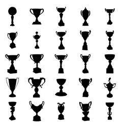 Sports trophies silhouettes set vector image