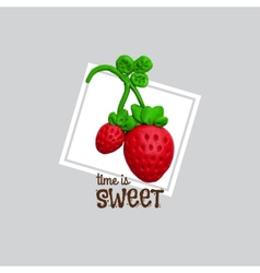 Sweet red strawberry with plasticine vector