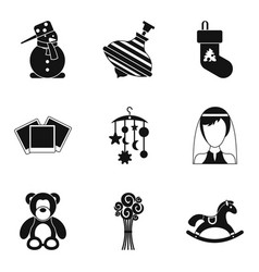 teddy bear icons set simple style vector image vector image