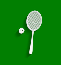 Tennis racquet with ball sign paper vector
