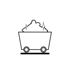 Thin line mine cart icon vector