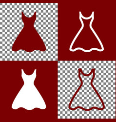 Woman dress sign bordo and white icons vector