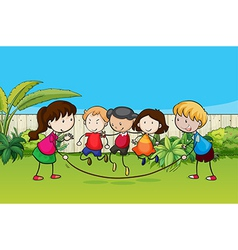 Kids skipping vector image